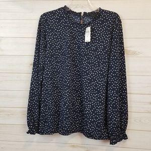 NWT Ann Taylor factory polka dot blouse size L